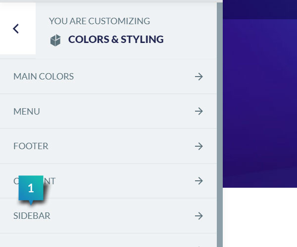 Colors & Styling - Sidebar