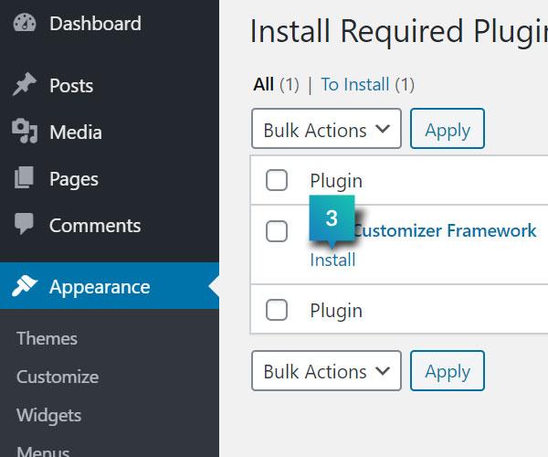 Install Kirki Customizer Framework