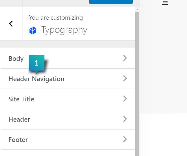 Typography - Header Navigation